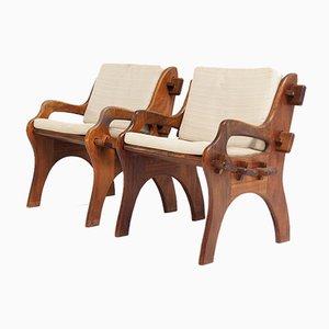 Vintage Brutalist Garden Chairs in Iroko Wood, Set of 2