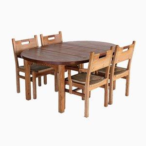 Vintage Dining Set in Pine & Teak from GM Mobler, Set of 5
