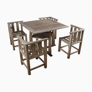 Englischer Gartentisch und Stühle im Stil von Heals, 1960er, 5er Set
