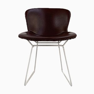 Wire Dining Chair in Leather by Harry Bertoia for Knoll Inc. / Knoll International, 1970s