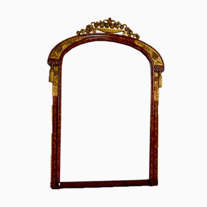 Art Deco Gilt Mirror in Amboyna Burl in the Style of Maurice Dufrene, France, 1920s
