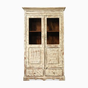 Vintage Indian Glass Fronted Armoire