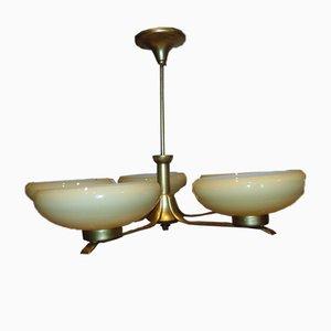 Pre-War Art Deco Brass Chandelier