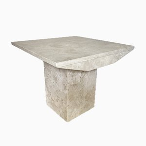 Square Travertine Side Table