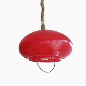 Italienische Mid-Century Deckenlampe aus rotem Glas, 1970er
