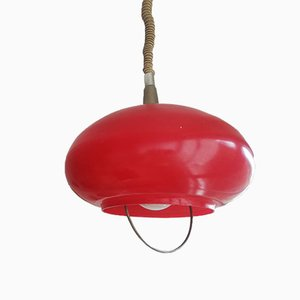 Mid-Century Italian Red Glass Pull-Down Ceiling Lamp, 1970s