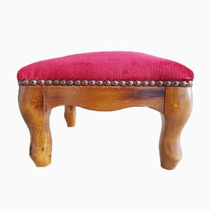Small Footstool With Red Velvet Cover