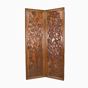 Art Nouveau Japonism Folding Screen in Carved Wood, 1890s