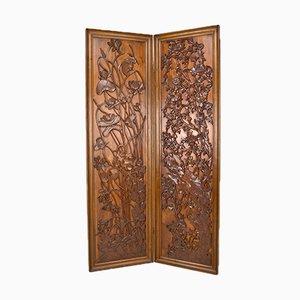 Paravento Art Nouveau in legno intagliato, fine XIX secolo