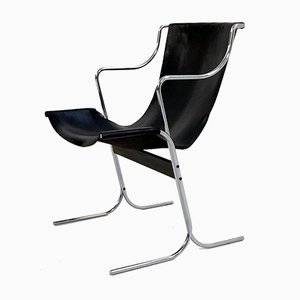 Leather Cigno Chair by Ross Littell & Douglas Kelly for ICF De Padova, 1960s