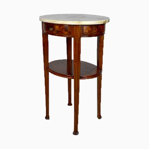 Art Nouveau Pedestal Table in Mahogany and Walnut Burl Attributed to Louis Chambry, France, 1900s