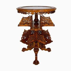 Japonaiserie Pedestal Table with Shelves Attributed to Gabriel Viardot, 1880s