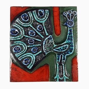 Vintage Glazed Ceramic Wall Plaque with Peacock Design, 1970s