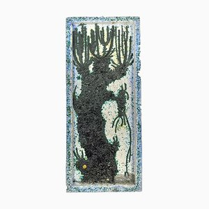 Chamotte Keramik Wandtafel von M. Kiss, 1970er