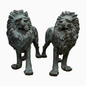Life-Sized Bronze Lion Sculptures, Set of 2