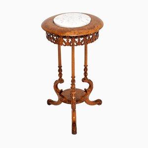 Table d'Appoint Victorienne Antique en Noyer et Marbre