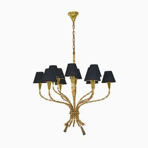 French Brass Bamboo Effect 12-Light Chandelier in the Style of Maison Baguès, 1950s