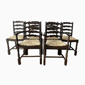 Chaises de Salle à Manger Vintage à Dossier en Ladder & Sculpteurs dans le Style d'Ercol, Set de 6