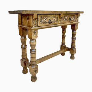Early 20th Century Spanish Console Table with 2 Drawers and Turned Legs