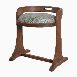 Antique Limed Oak Stool with Beatrice Larkin Upholstered Seat in Geometric Wool