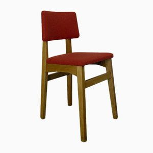 Mid-Century Beech Side Chairs Upholstered in Orange Wool, Set of 3