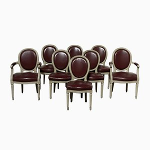 French Dining Chairs in Original Finish with Leather Seats, Set of 8