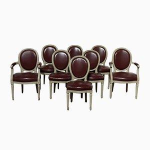 Sedie da pranzo originali con sedute in pelle, Francia, set di 8