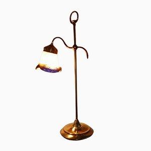 Messing und Italienische Vintage Glas Tischlampe