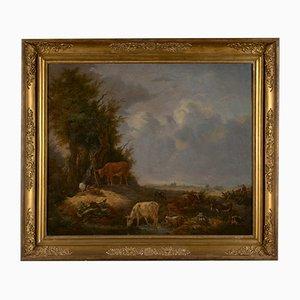Bovins au Point d'Eau, Huile sur Toile Romantique par Karel De San, 1838