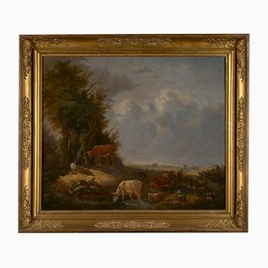 Cattle at the Waterhole, olio su tela di Karel De San, 1838