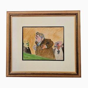 Maurice Montet, Aquarelle avec Caricature de 3 Personnages Remarquables