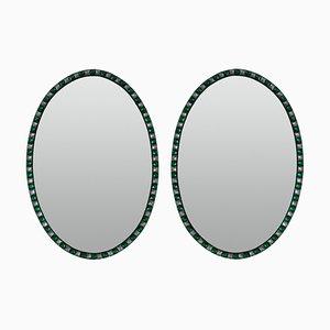 Irische Spiegel im georgianischen Stil mit smaragdgrünen Nieten, 1970er, 2er Set