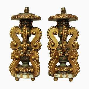 Lámparas de mesa italianas de madera dorada. Juego de 2