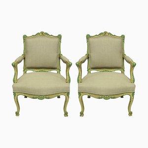 Fauteuils Style Louis XVI Peints en Jaune Pâle et Vert, Set de 2