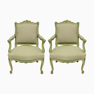 Louis XVI Style Armchairs in Pale Yellow and Green Paint, Set of 2