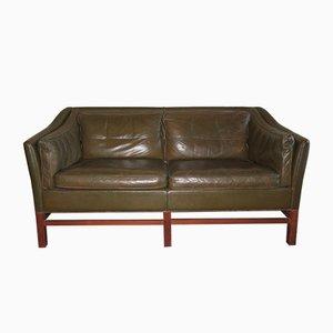 Dänisches Sofa aus Teak & Olivgrünem Leder von Grant, 1960er