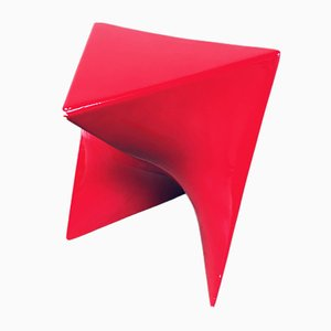 Postmodern Red Fiberglass & Origami Stool, 1980s