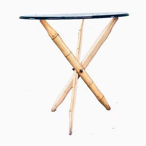 Vintage Faux Bamboo Folding Tripod Side Table, 1970s