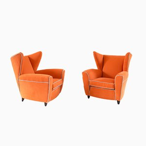 Poltrone alate arancioni di Melchiorre Bega, set di 2