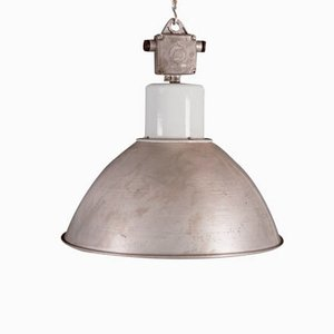 Large Gray Czech Factory Pendant Lamp, 1960s