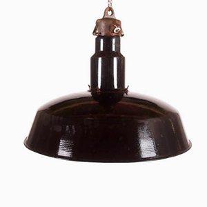Grande Lampe d'Usine Noire Emaillée, République Tchèque, 1960s
