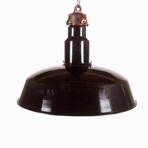 Large Black Enameled Czech Factory Lamp, 1960s