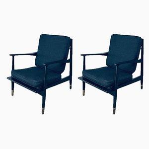 Mid-Century Modern Black Lacquer Lounge Armchair Set, Denmark 1950s, Set of 2
