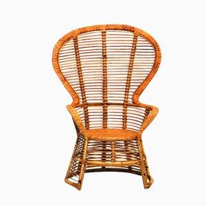 Vintage Rattan Sessel mit Hoher Rückenlehne
