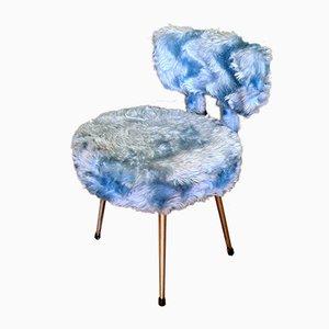 Französischer Vintage Stuhl mit Kunstfell, 1970er