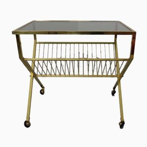 French Brass & Glass Cart with Magazine Rack, 1960s