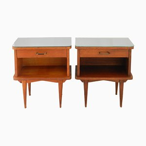 Mid-Century French Nightstands with Mirror Tops, Set of 2
