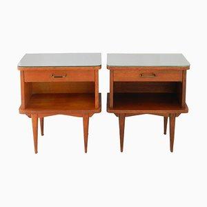 Tables de Chevet Mid-Century avec Plateaux en Miroir, France, Set de 2