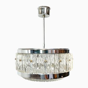 Mid-Century Pendant Light in Glass and Chrome