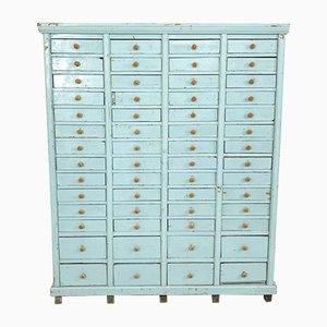 Cassettiera vintage industriale in legno dipinto di blu